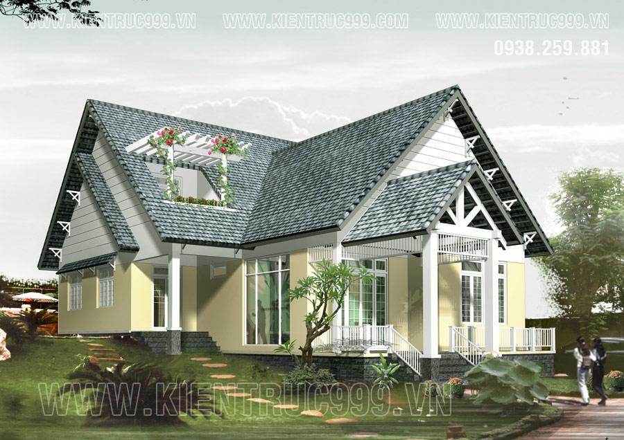 nhà cấp 4 đẹp 2019 có 1 tầng trệt và tầng áp mái tận dụng không gian của mái