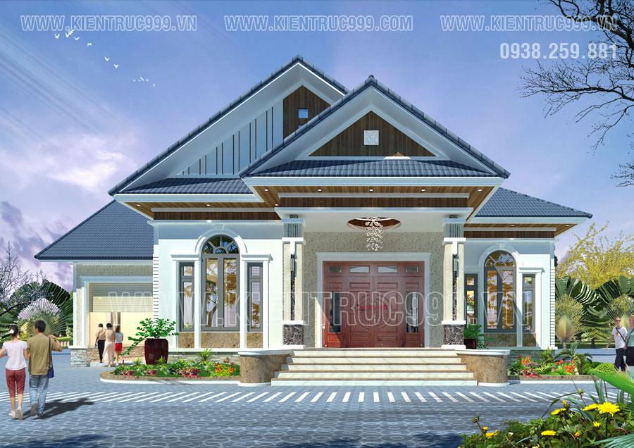 Nhà 1 tầng mái thái các phòng có bố cục quay quanh phòng khách hay phòng bếp