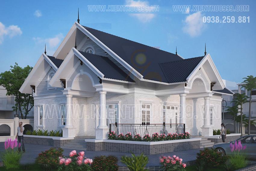 Nhà một tầng đẹp mạnh mẽ ở Long An thiết kế theo phong thủy