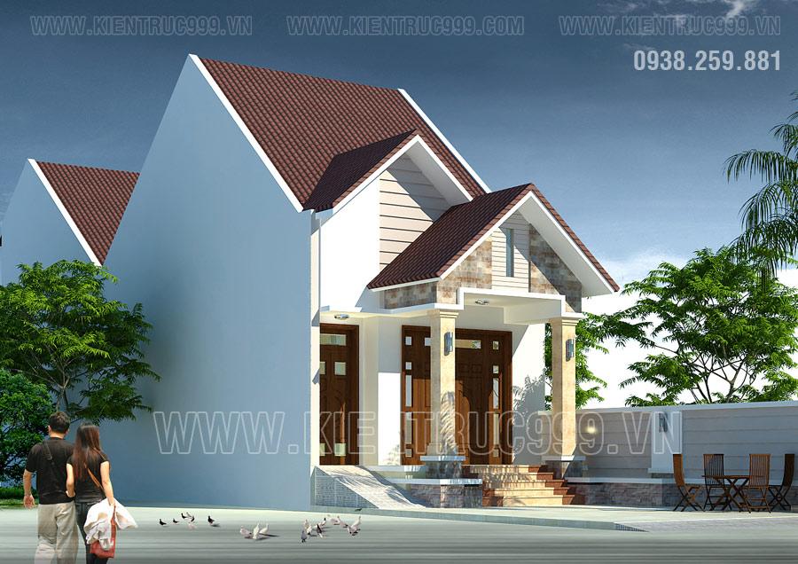 nhà đẹp cấp 4 có gác lững kế hợp mái Thái 5x20m