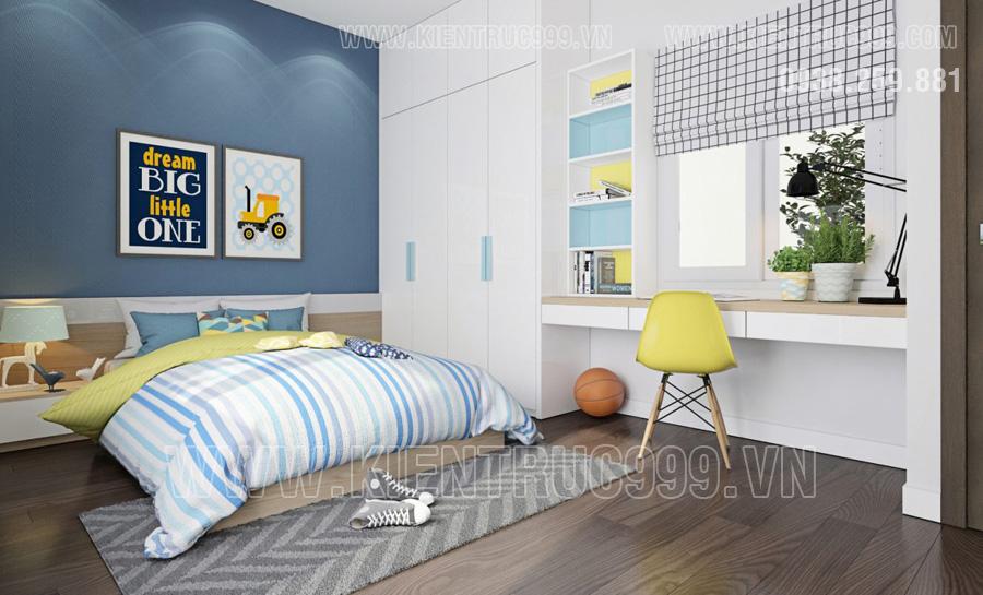 nhà cấp 4 mái thái Bình Dương có thiết kế nội thất phòng ngủ con trai đẹp.