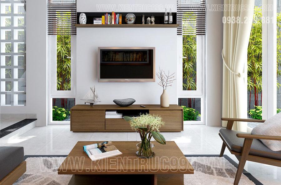 Thiết kế nội thất phòng khách đẹp của nhà cấp 4 mái thái Bình Dương.