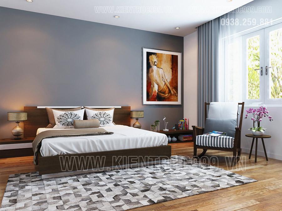 Thiết kế nội thất phòng ngủ đẹp của nhà cấp 4 mái thái Bình Dương.