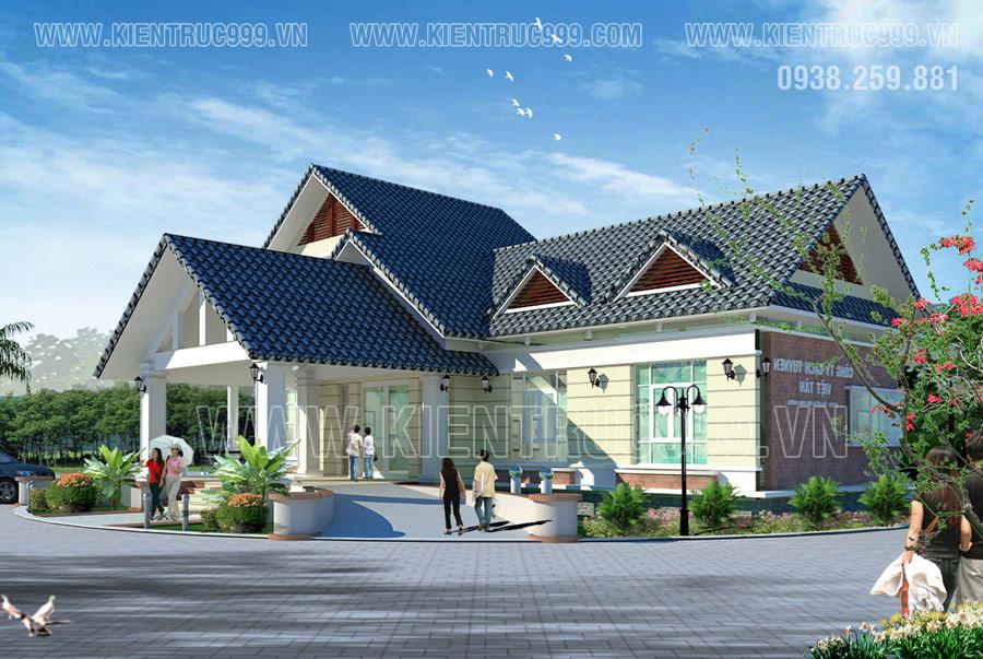 Thiết kế nhà mái thái đẹp có gác lững kết hợp làm văn phòng công ty