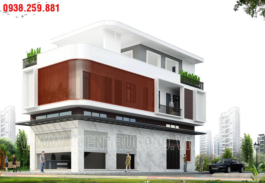nhà 2 mặt tiền 2 tầng có sân thượng hiện đại