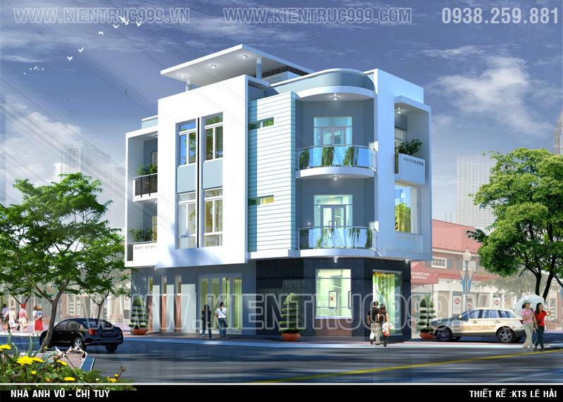 Thiết kế nhà lô góc đẹp 3 tầng tại thành phố Buôn Mê Thuột- Đaklak.