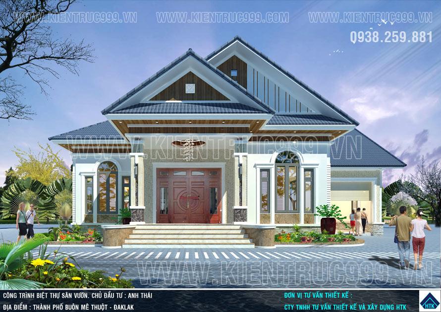 Mẫu nhà 1 tầng đẹp đáng sống với mái ngói Thái tại Đaklak