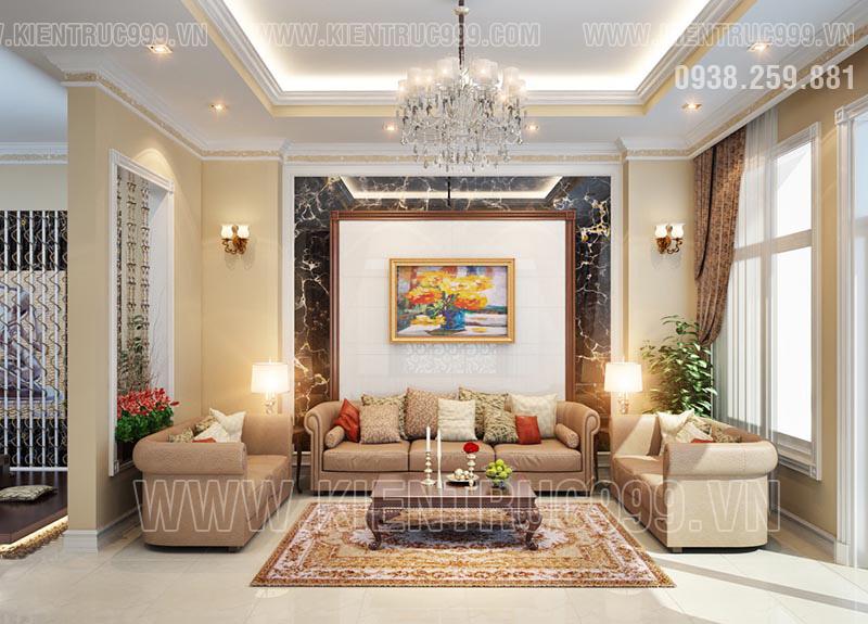 Nội thất phòng khách mẫu nhà 1 trệt 1 lầu vối tông màu ấm cúng.