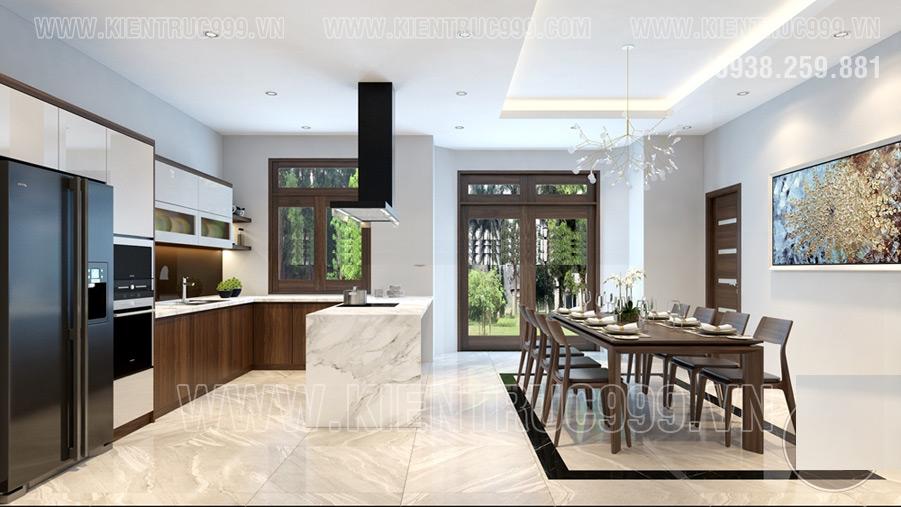 Nội thất nhà 1 trệt 1 lầu đơn giản tiện nghi chất liệu cao cấp.