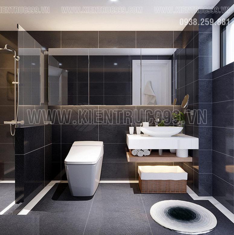 Phòng vệ sinh master với tông màu đen huyền bí.