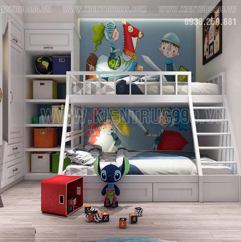 Nét tinh nghịch, năng động, sắc màu cá tính thể hiện trong nội thất phòng ngủ này.