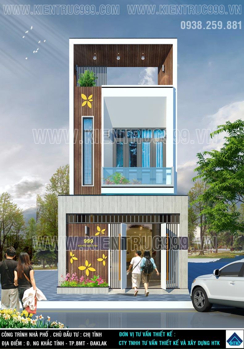 Mặt tiền nhà 2 tầng 5x18m đẹp hoàn chỉnh hài hòa khác lạ từ cổng rào đến các tầng trên.