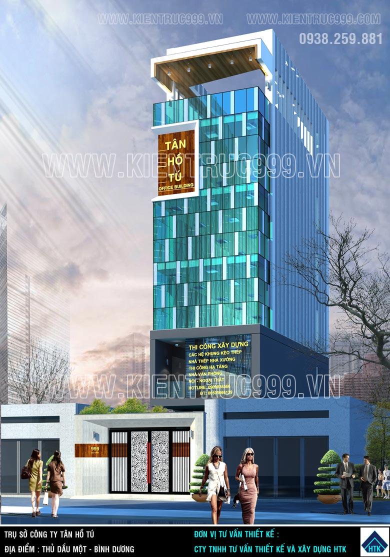 thiết kế nhà văn phòng 6 tầng mặt tiền 6x14m dùng kính phản quang cường lực của Bỉ.