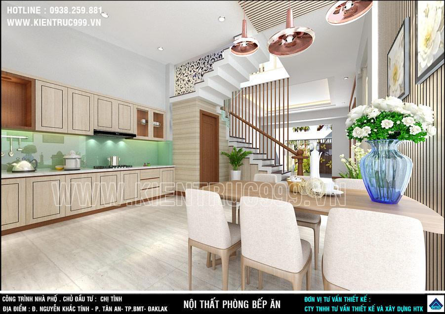 Nội thất nhà đẹp 5x18m hoàn chỉnh với thiết kế bếp hoàn hảo