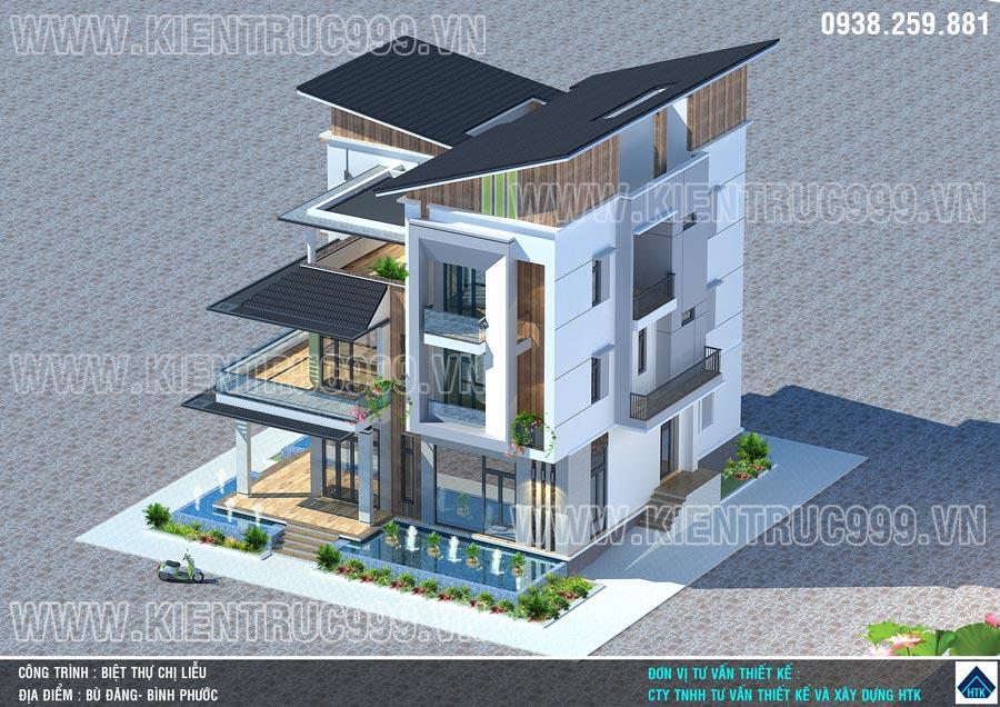 Biệt thự 3 tầng mái lệch kết hợp hồ cảnh thích hợp cho chủ nhà mạng Thủy