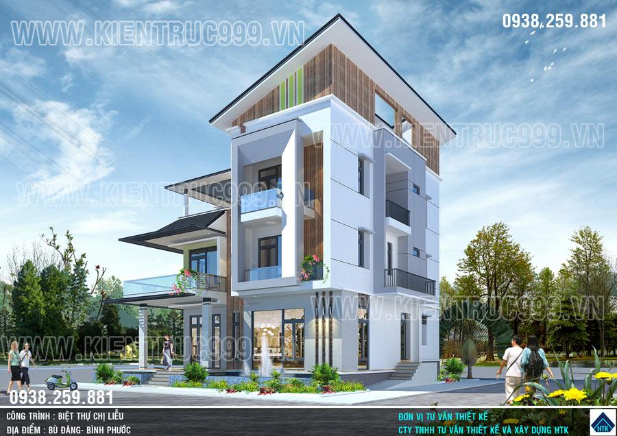 Thiết kế nhà đẹp 3 tầng mái lệch có dáng kiến trúc hiện đại