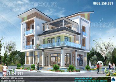 Thiết kế nhà mái lệch 3 tầng hiện đại bậc nhất Bình Phước