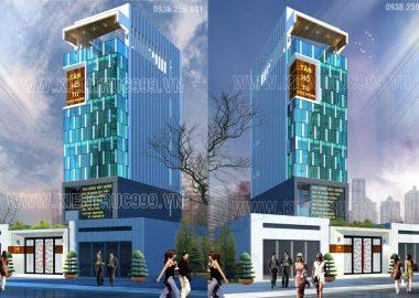 Thiết kế nhà văn phòng 6 tầng mặt tiền 6m đáng đầu tư ở Bình Dương.