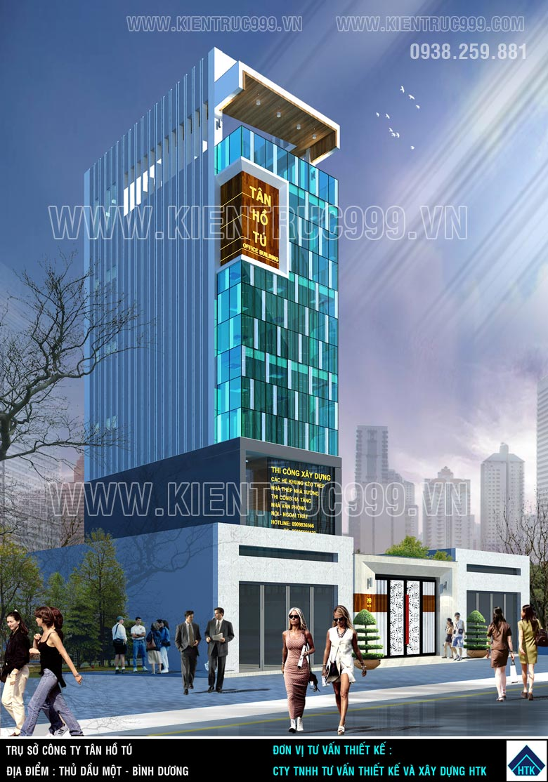 Thiết kế nhà văn phòng 6 tầng 6x14m có chiều cao mỗi tầng 3m6.