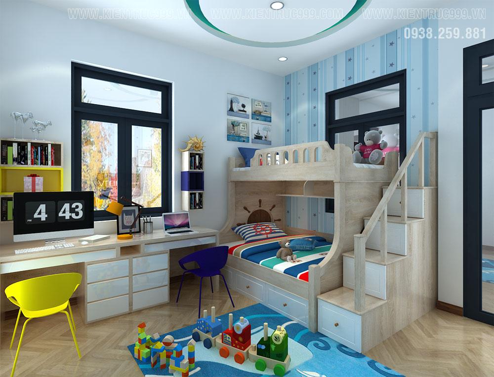 phòng bé trai rất tiện nghi trong mẫu nhà đẹp 2019 2 tầng
