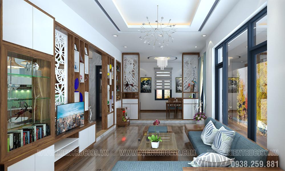 phòng khách nhà 2 tầng mặt tiền 10m đẹp 2019