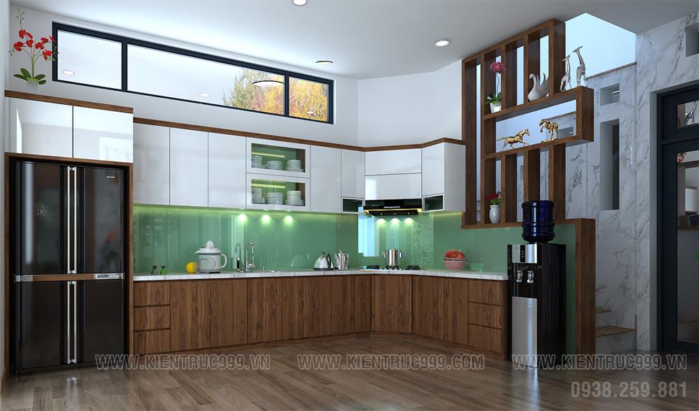 phòng bếp nhà vườn 2 tầng 2019 vật liệu arylic an cường