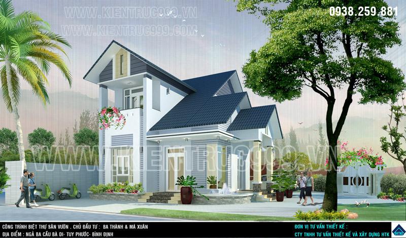 Công ty xây dựng HTK thiết kế mẫu nhà vườn 2 tầng tại quê nhà Bình Định