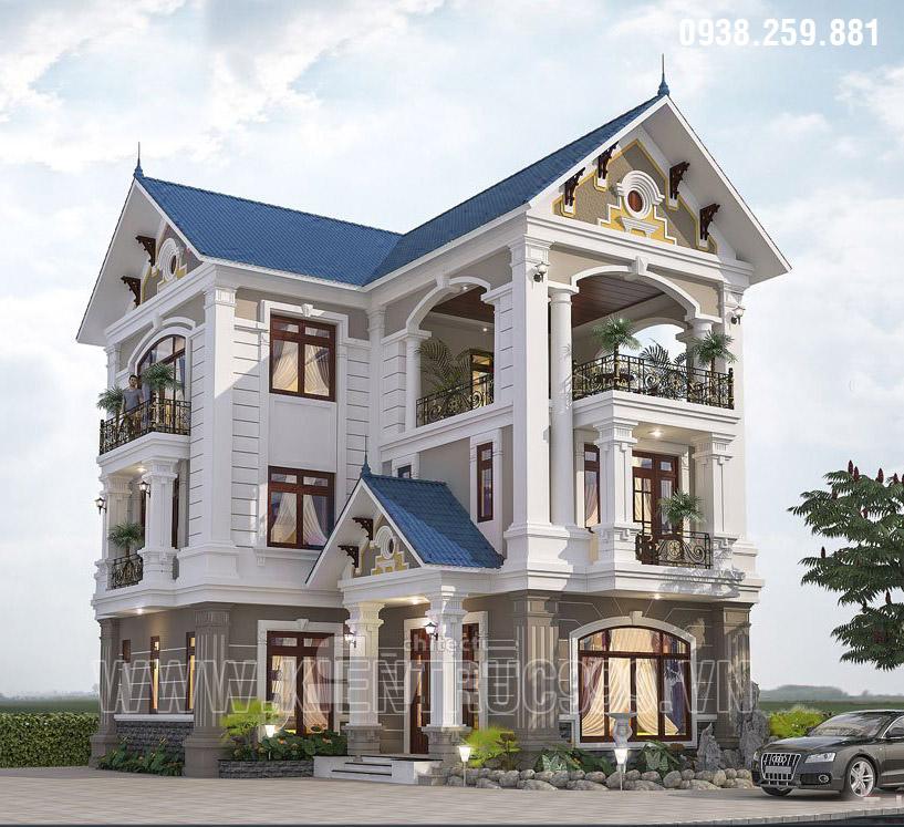Bản vẽ mẫu nhà đẹp 3 tầng hình chữ L thiết kế bán cổ điển