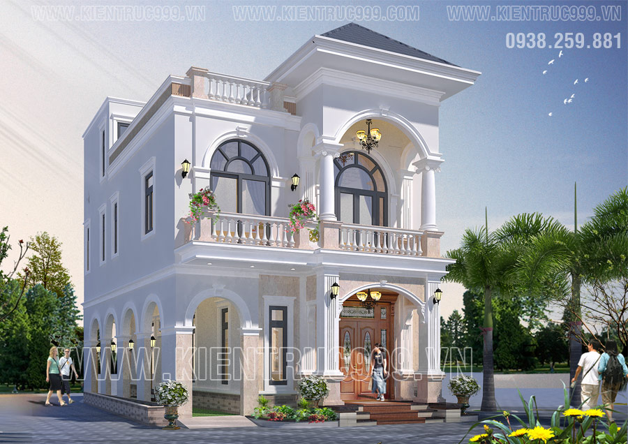 Mẫu thiết kế biệt thự 2 tầng kiến trúc tân cổ điển tại Bình Tân mặt tiền 8m3, sâu 13m