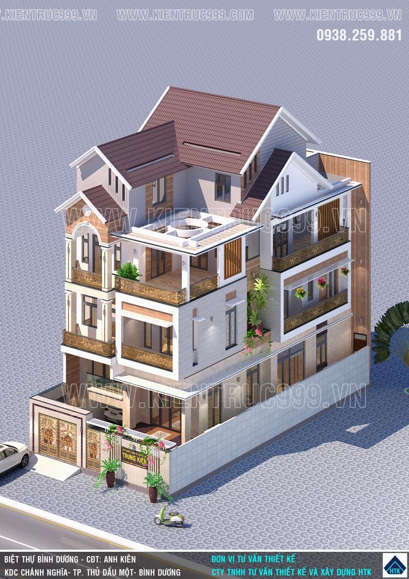 kiến trúc nhà đẹp 4 tầng hiện đại với 2 mặt tiền KDC Chánh Nghĩa - Bình Dương