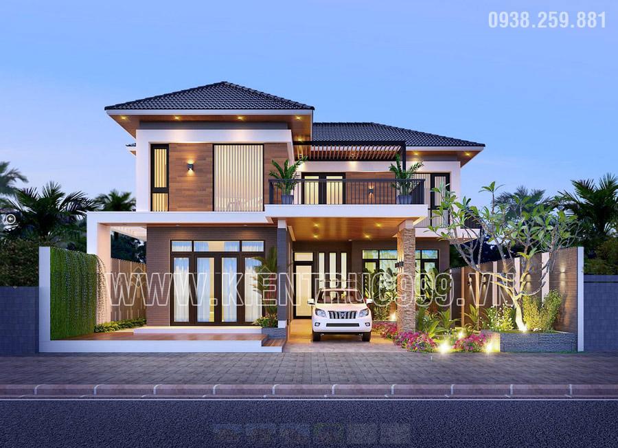 Mẫu nhà 2 tầng chữ l đẹp kiến trúc cân đối