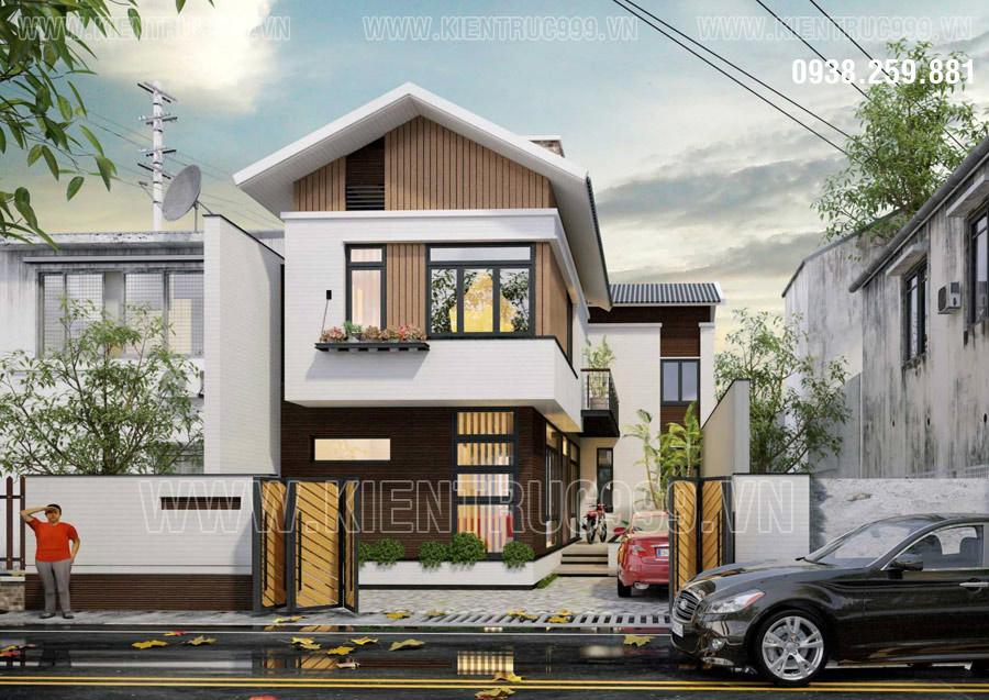 Mẫu nhà 2 tầng chữ L hợp phong thủy chủ nhà