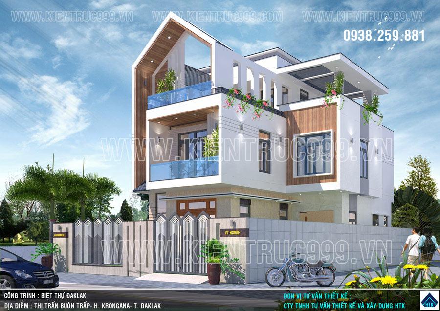 Mẫu nhà 3 tầng chữ L đẹp mái nhà nhọn