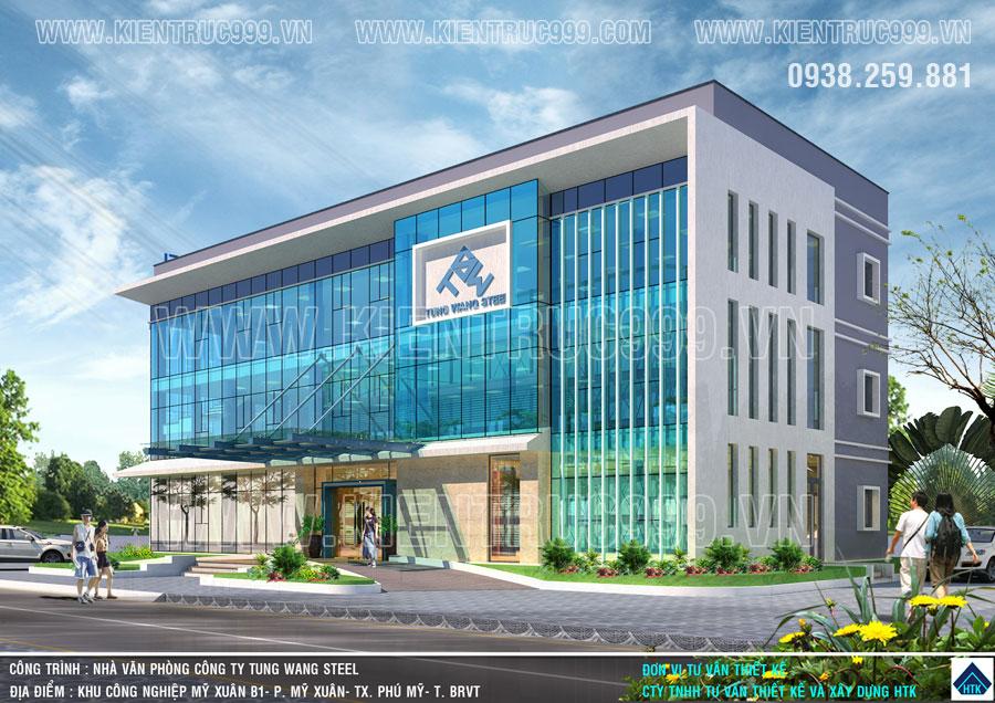 Ngoại thất và công năng của mẫu nhà văn phòng 3 tầng được kiến trúc sư tối ưu hóa.