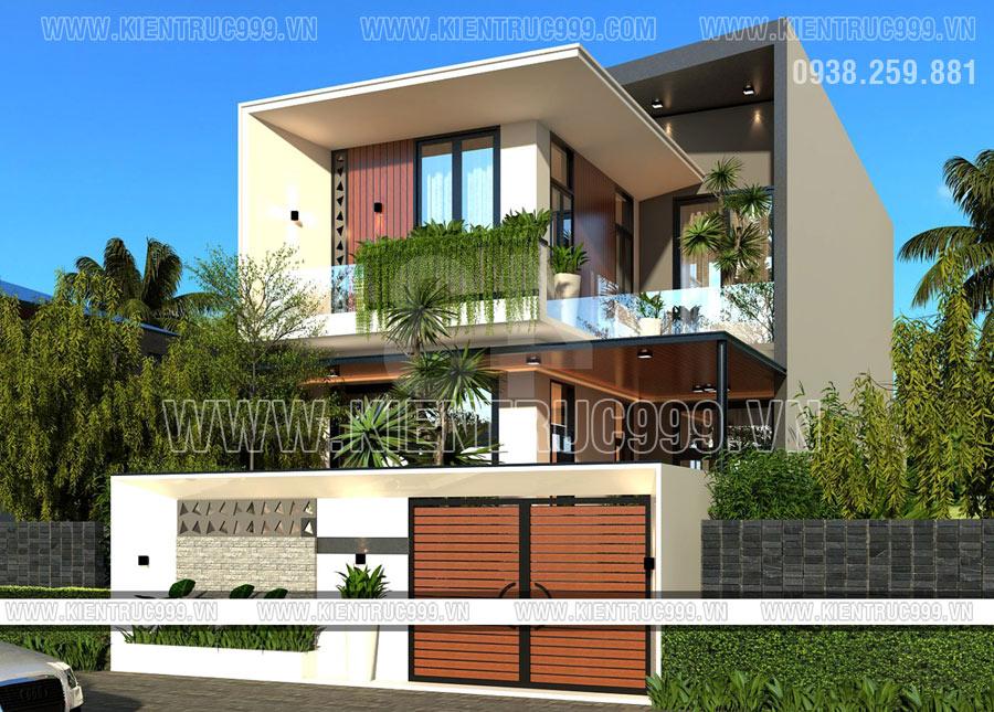 mẫu nhà 2 tầng chữ L đẹp 2021