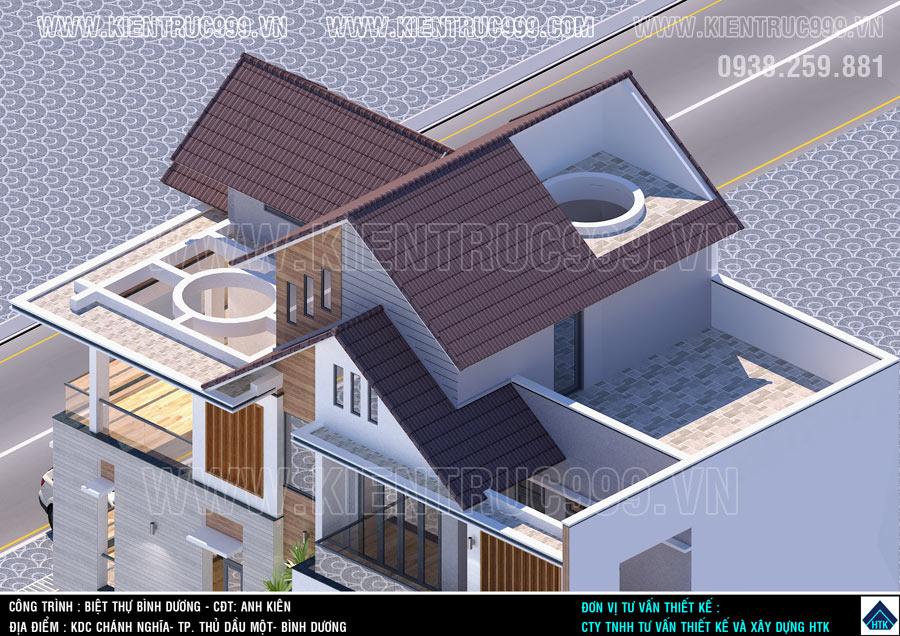 Thiết kế nhà mái thái 4 tầng thân quen của ngôi nhà truyền thống người Việt