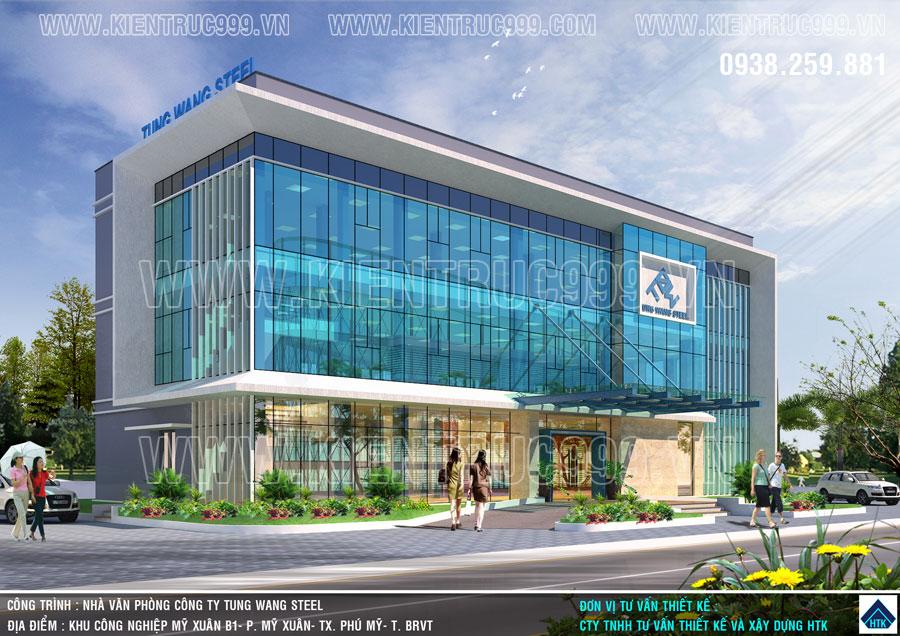 Kiến trúc nhà văn phòng điều hành 3 tầng với gam màu xanh của doanh nghiệp