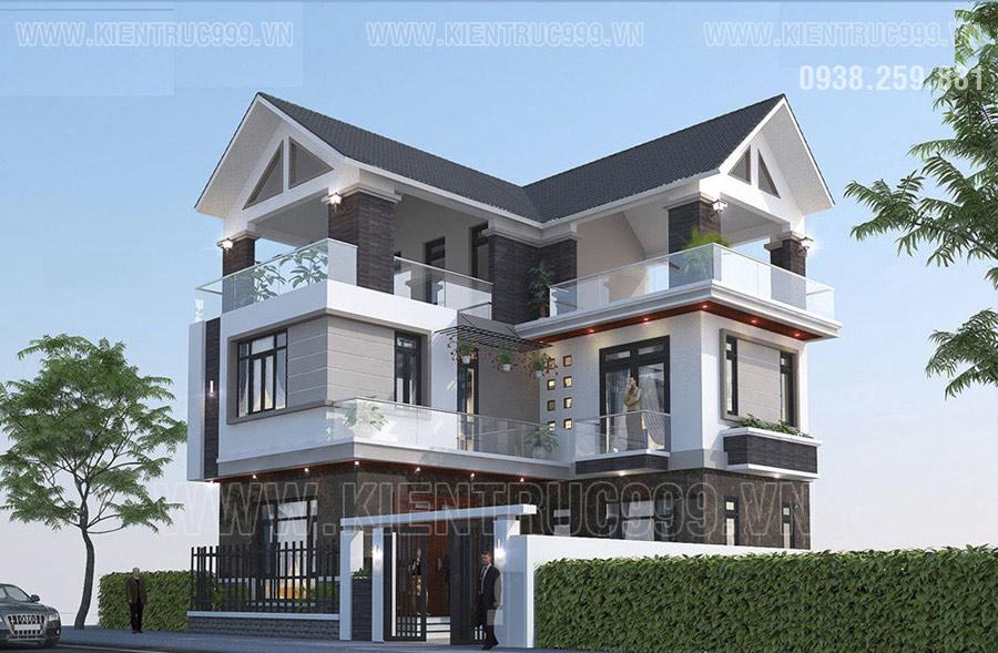 Thiết kế nhà 3 tầng chữ L 70- 80m2 thiết kế mái thái