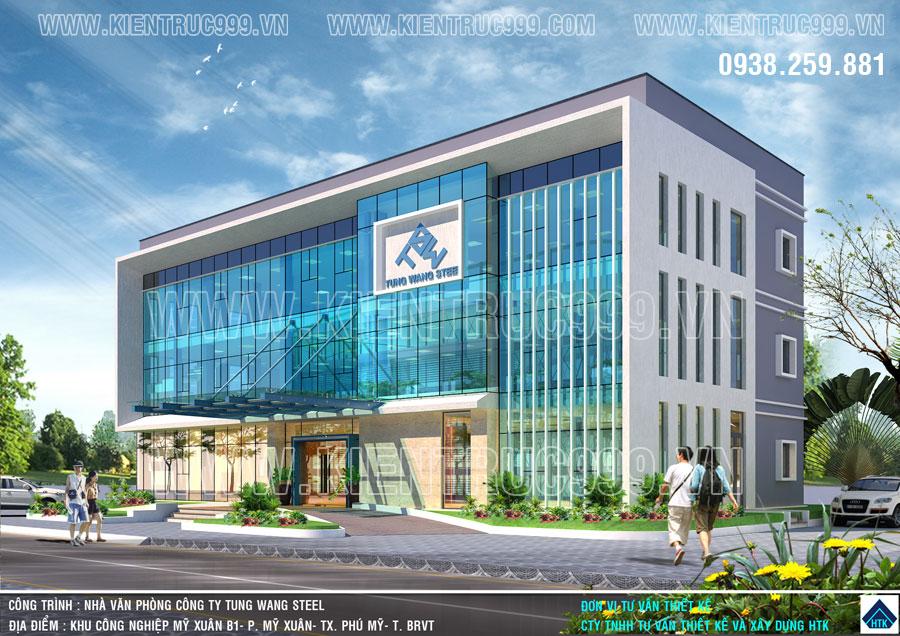 Thiết kế tòa nhà điều hành 3 tầng nhà máy Tung Wang Steel trong KCN Mỹ Xuân Tiến Đạt