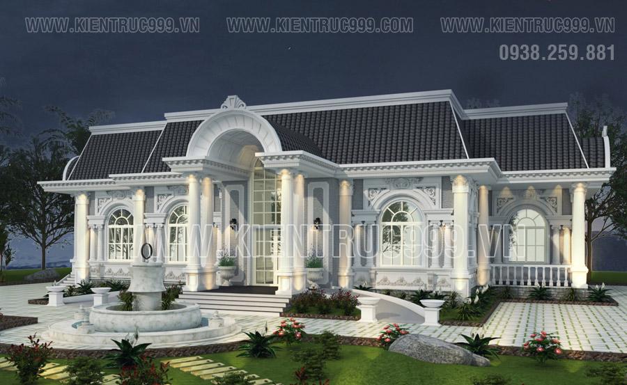 Một thiết kế nhà 1 tầng kiểu biệt thự tân cổ điển