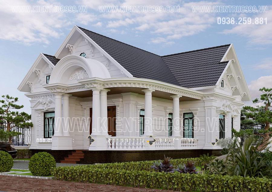 Thiết kế nhà 1 tầng mái thái cao cấp, tân cổ điển, với khối đua chữ A rộng