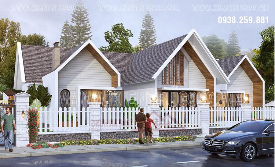 Kiến trúc mẫu nhà cấp 4 đẹp 5x20
