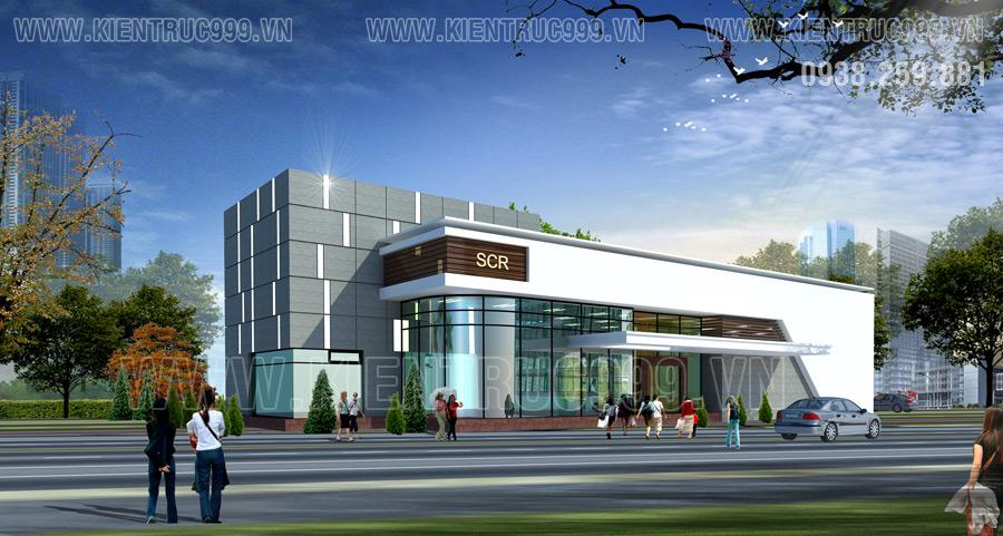 Thiết kế mẫu nhà văn phòng 2 tầng điều hành dự án mang phong cách kiến trúc HTK
