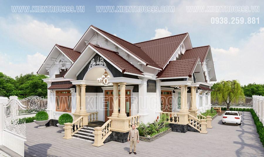 Mẫu nhà 1 tầng mái thái 4 phòng ngủ cao cấp