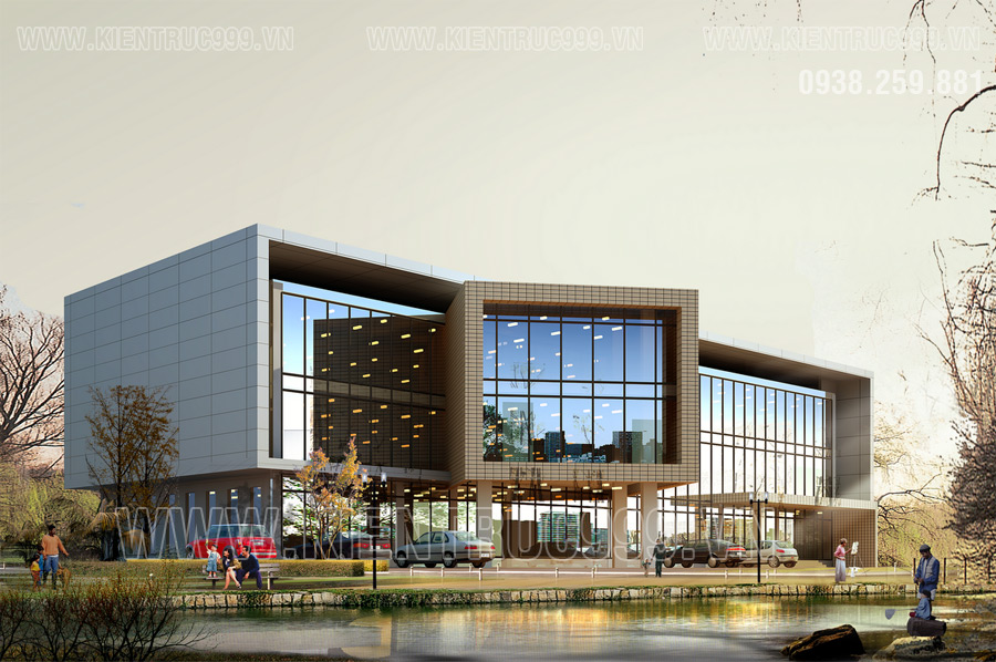 Mẫu tòa nhà văn phòng đẹp 3 tầng hiện đại làm nên thành công của KienTrucHTK
