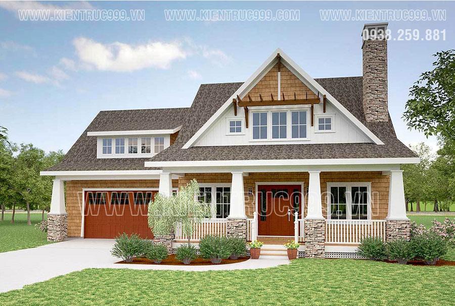 Một thiết kế nhà 1 tầng có tầng áp mái đồng quê Châu Âu