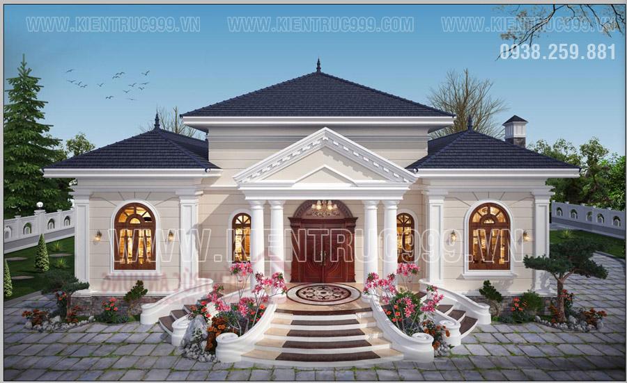 Nhà 1 tầng đẹp đối xứng thiết kế 3 gian