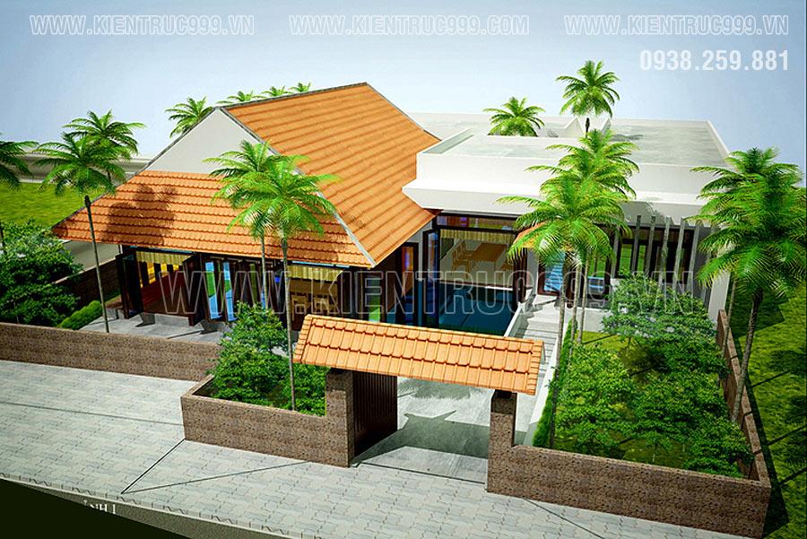 Nhà cấp 4 thiết kế kết hợp giữa nhà rường gỗ truyền thống và hiện đại