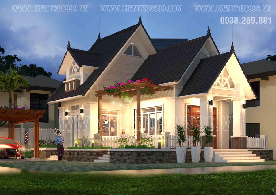 Thiết kế nhà cấp 4 mái Thái có tầng áp mái