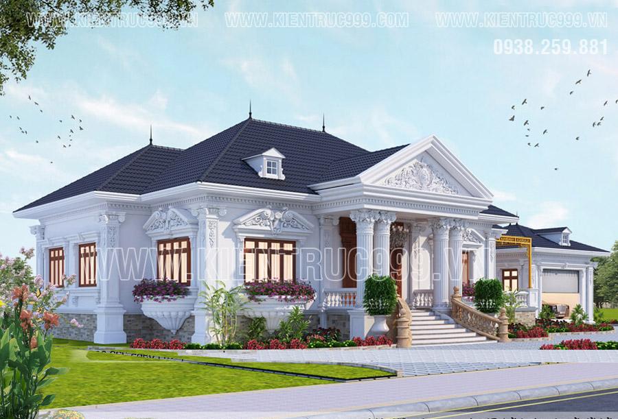 Nhà mái thái 1 tầng đẹp tân cổ điển